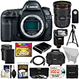 Canon EOS 5D Mark IV 4K Wi-Fi Digital SLR Camera Body with 24-70mm f/2.8L II Lens + 64GB Card + Battery & Charger + Case + Flash + Tripod + Kit