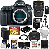 Canon EOS 5D Mark IV 4K Wi-Fi Digital SLR Camera Body with 24-70mm f/2.8L II Lens + 64GB Card + Battery & Charger + Case + Flash + Tripod + Kit For Sale