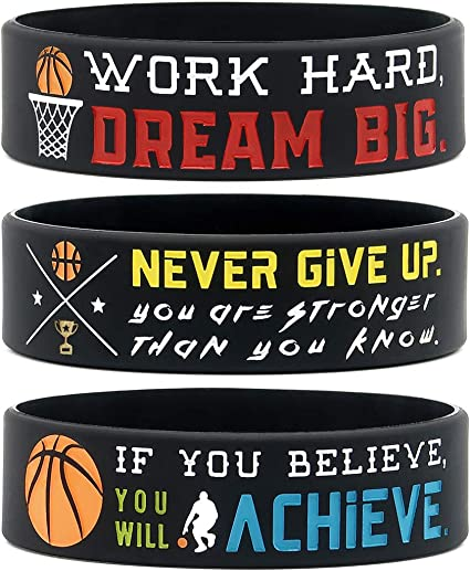 Basketball Famous for Basketball Fans Basketball Themed Silicone Bracelet for Girls and Boys VegKey Basketball Inspirational Silicone Wristbands