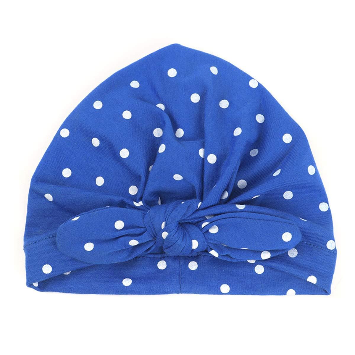 puseky Infant Toddler Baby Girls Tie Bowknot Indian Hat Kids Polka Dot Print Rabbit Ear Beanie Cap