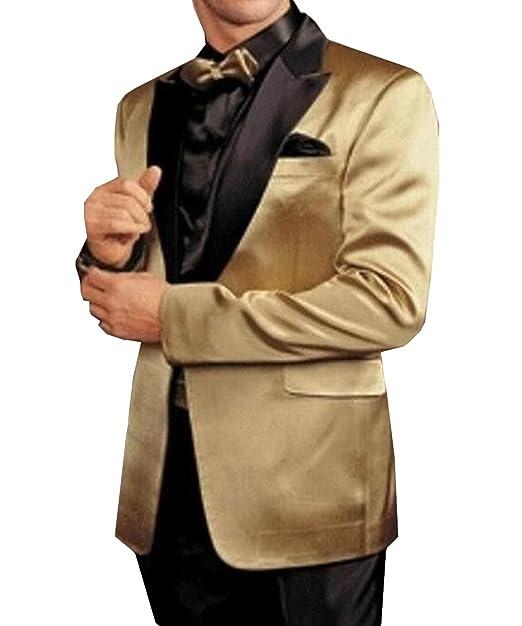 Amazon.com: pretygirl hombre oro Blazer traje Negro ...