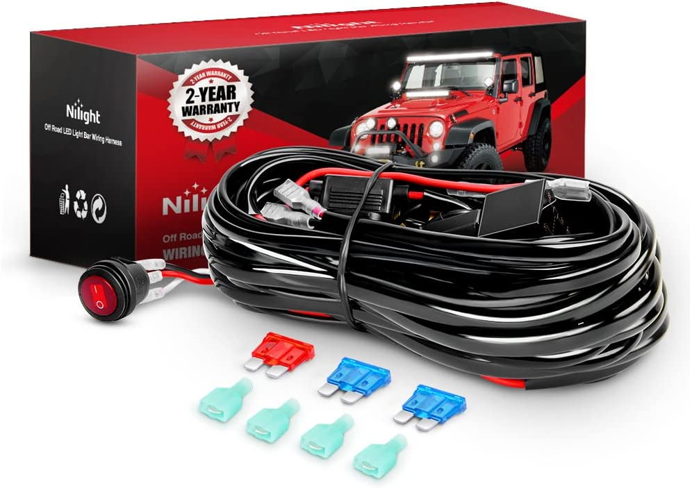 Amazon.com: Nilight - NI -WA 06 LED Light Bar Wiring Harness Kit - 2 Leads  12V On Off Switch Power Relay Blade Fuse for Off Road Lights LED Work Light,  2 Years Warranty: AutomotiveAmazon.com