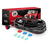 Nilight - NI -WA 06 LED Light Bar Wiring Harness Kit - 2 Leads 12V On Off Switch Power Relay Blade Fuse for Off Road Lights L
