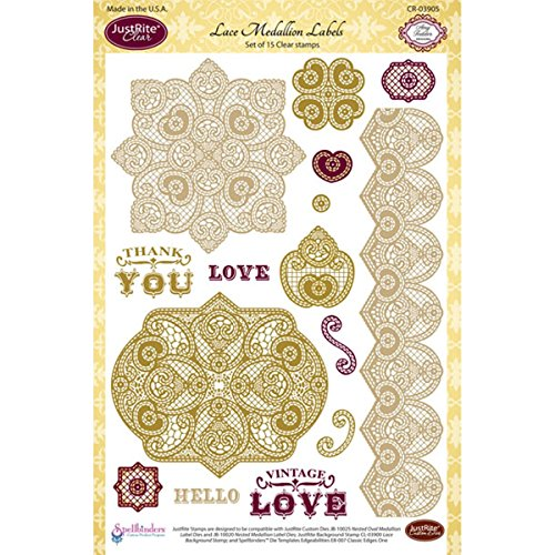 JustRite 15-Piece Papercraft Clear Stamp Set, 6 by 8-Inch...