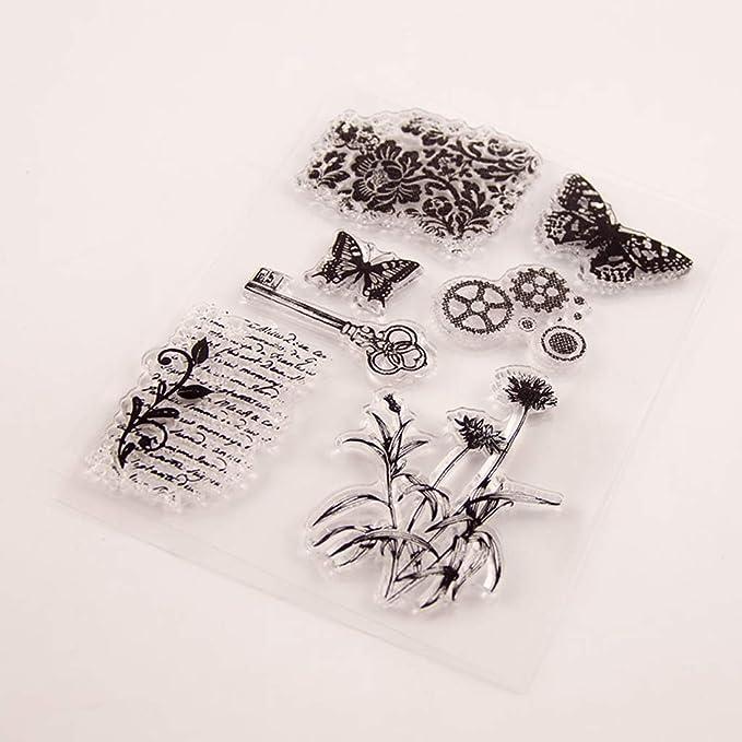 Cuaderno Papel /álbumes de Fotos luosh Sello de Goma de Silicona Transparente /álbum de Recortes de Bricolaje Suministros para Manualidades fabricaci/ón de Tarjetas