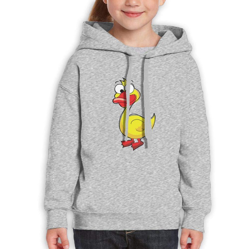 Qiop Nee Cartoon Yellow Duck Kids Hoody Print Long Sleeve Sweatshirt for Girl's