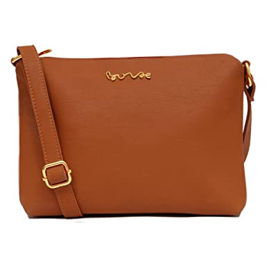 Borse Brown Leatherette Sling Bag (KCPM28): Amazon.in: Clothing ...