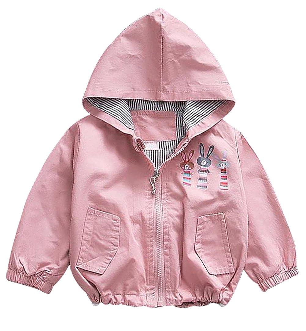 EGELEXY Baby Girls Cute Cartoon Rabbit Hooded Zipper Windbreaker Coats Kids Outerwear F481