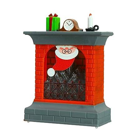 AMhomely Navidad 3D Chimenea Navidad calcetín luz de Noche LED ...