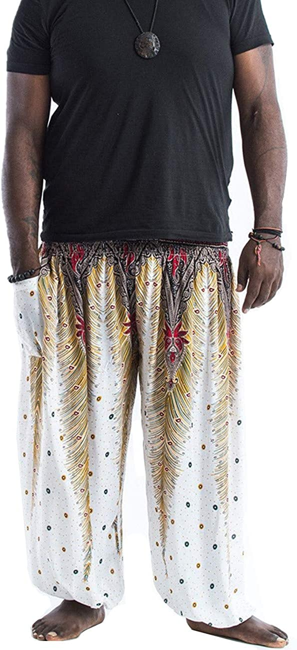 GLUDEAR Mens Casual Smocked Waist Boho Printed Pockets Harem Hippie Yoga Pants