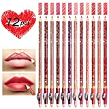 SySrion 12 Color Lip Liner Set - High Pigmented Matte Make Up Lip Liners Pencil with Sharpener for Daily/Travel/Party/Work