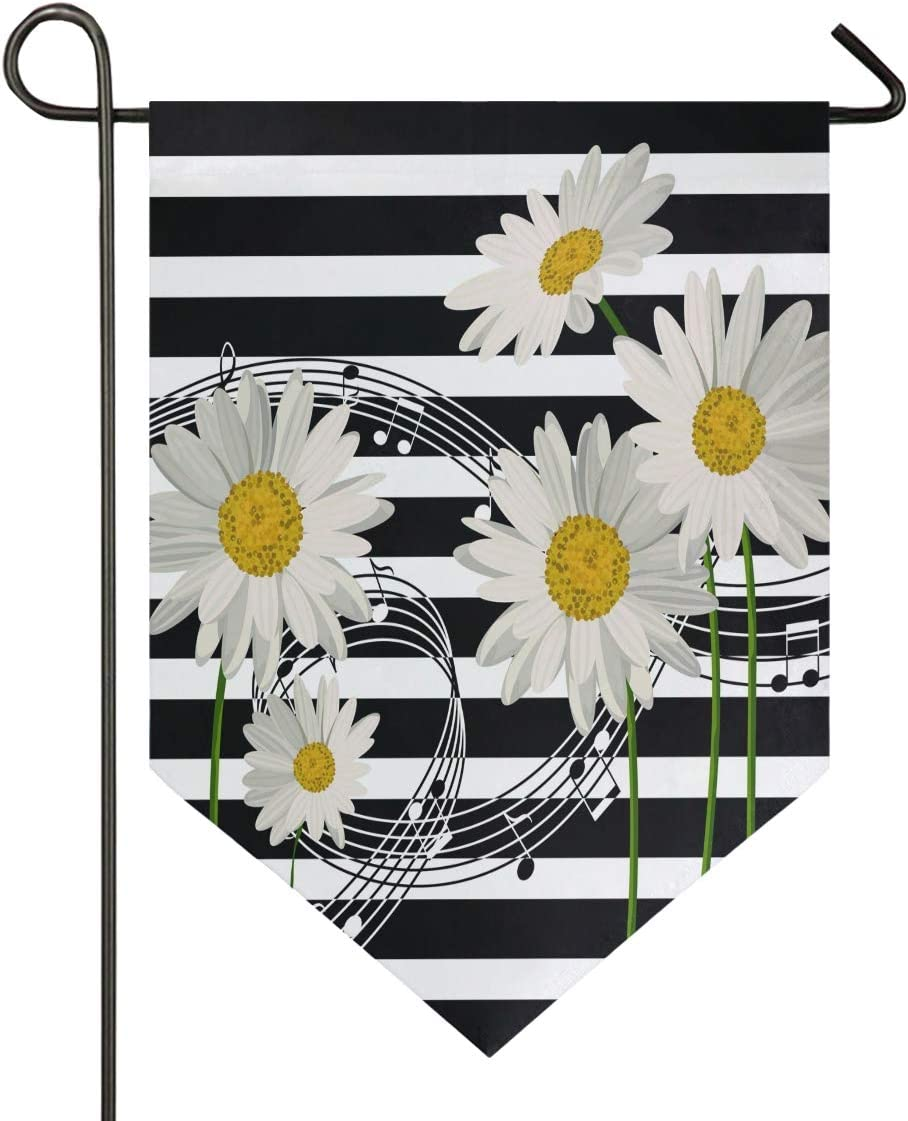Oarencol Music Notes Daisies Black and White Stripe Garden Flag Double Sided Home Yard Decor Banner Outdoor 12.5 x 18 Inch