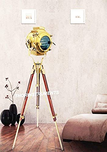 Nautical Wooden Spotlight Search Light  Floor Lamp With wooden Tripod Stand