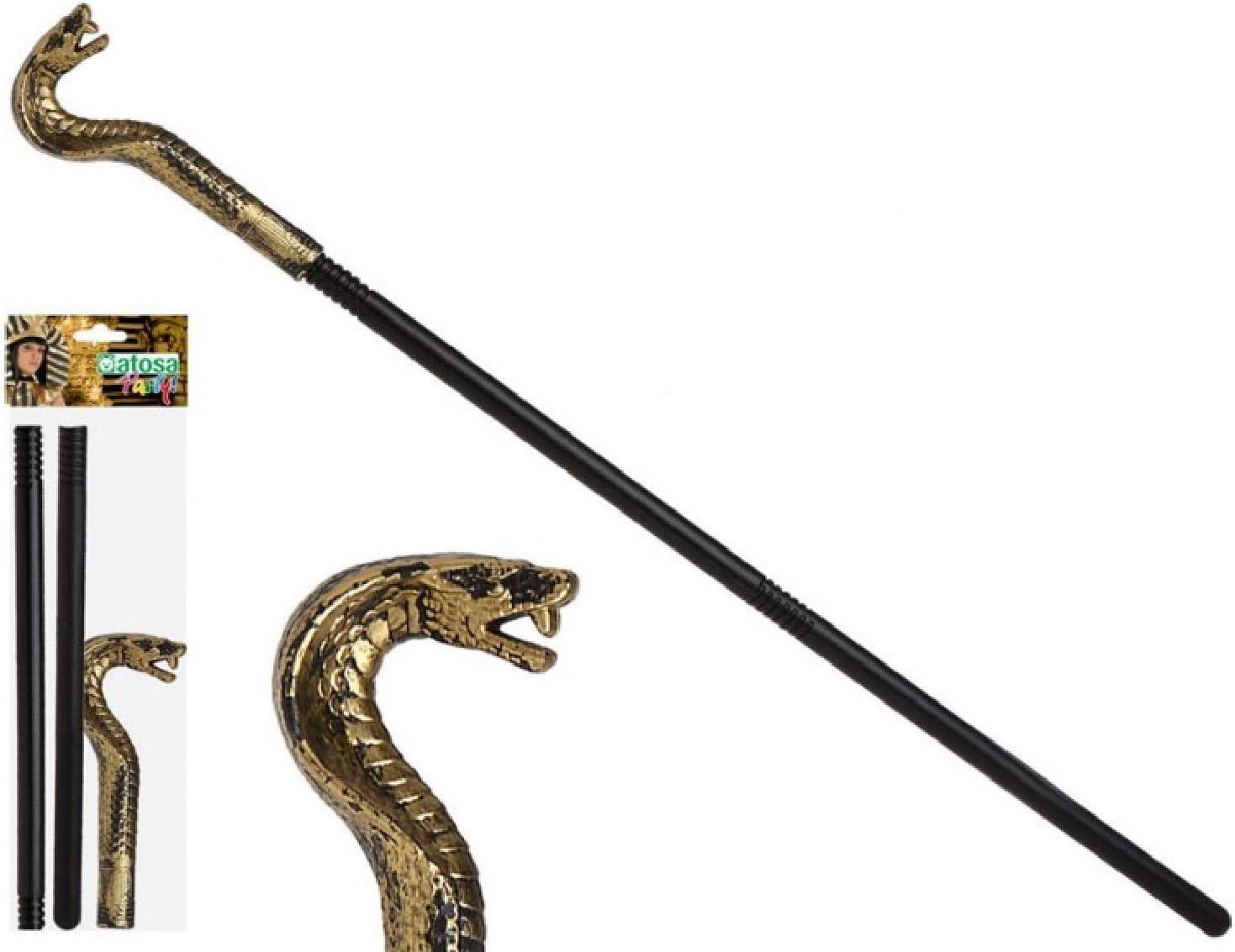 Gold Snake Head Walking Cane Stick Pimp,Pharaoh Adult Fancy Dress Accessory