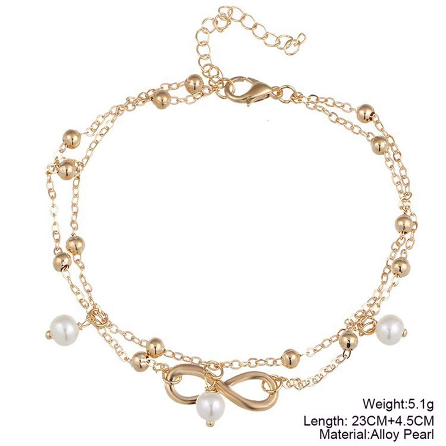 tthappy76 Summer Style Gold//Silver Color Layered Chain Infinity Charm Anklets for Women Ankle Bracelet On The Foot