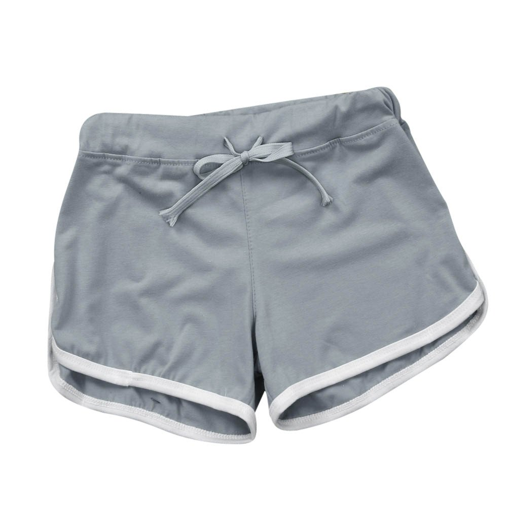TRENDINAO Summer Short Pants Women, Sport Shorts Gym Workout Waistband Skinny Yoga Elastic Shorts Gray