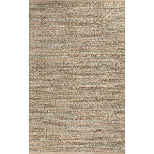 Diva At Home 2.5' x 4' Desert Sand, Jungle Green and Light Teal Naturals Canterbury Hand Woven Area Throw Rug