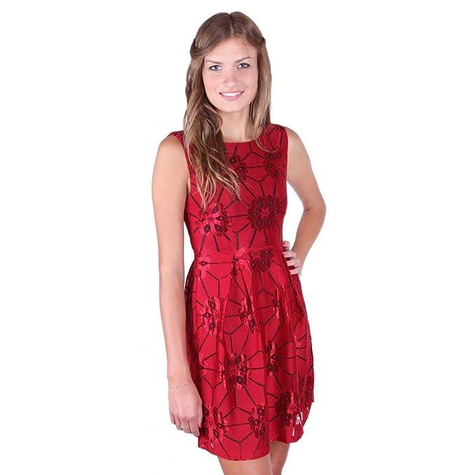 AngelEye Londn - Vestido - Sin mangas - para mujer Rojo granate Medium