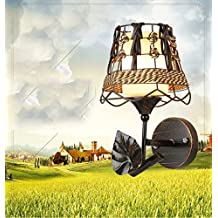 Modern Pastoral Wall Lamp Metal Base Wicker LampShade E27 Copper Color Wall Sconces