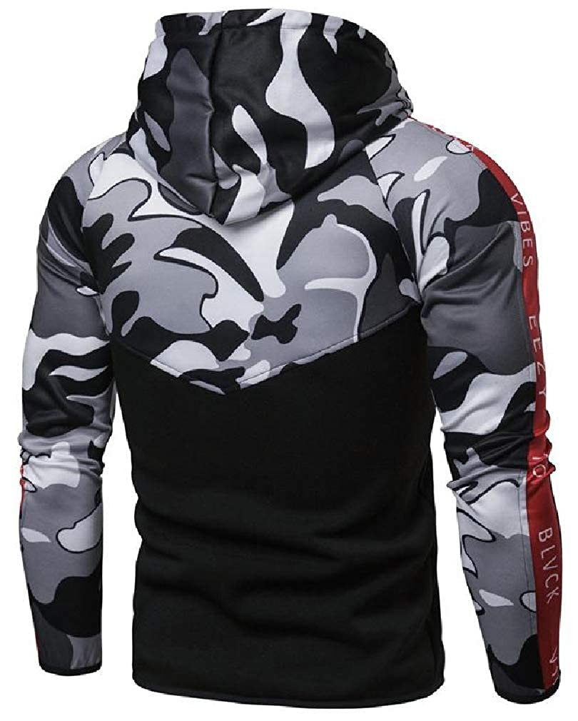 Joe Wenko Mens Drawstring Casual Zip Up Hooded Camo Patchwork Sweatshirt Jacket