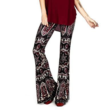 dccb4c4b887c81 Inlefen Womens Comfy Stretchy Bell Bottom Flare Pants Flowers Print Elegant  Casual Pants Festive Evening Wear Partywear: Amazon.co.uk: Clothing