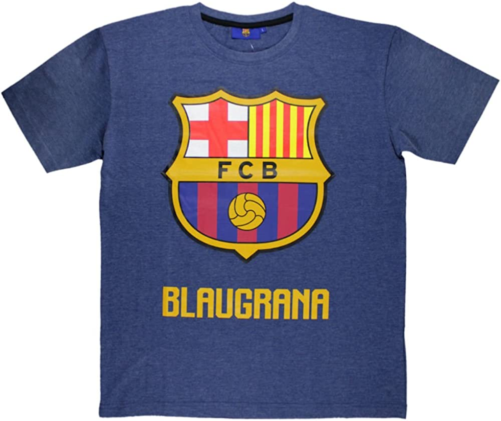 Camiseta FC Barcelona de Manga Corta Azul Marino M: Amazon.es ...