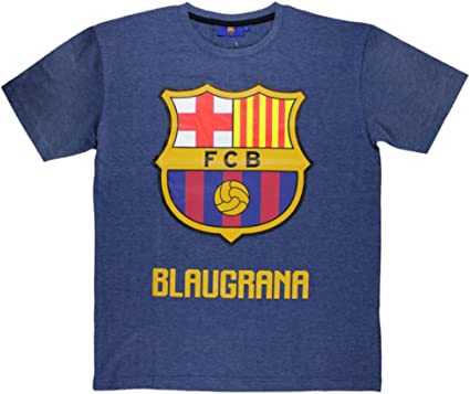 Camiseta FC Barcelona de Manga Corta Azul Marino M: Amazon.es: Ropa y accesorios