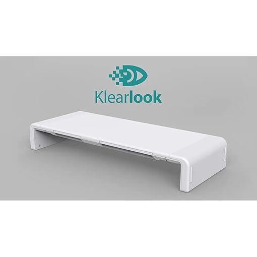 Klearlook Foldable Monitor Stand Built in Storage Drawer Tablet&Phone Stand Holder, Width Adjustable Desktop Monitor Screen Riser,Anti-Slip Monitor Mount for Computer/Printer/Laptops/TV-White