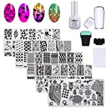 AIMEILI Nail Art Stamping Templates Manicure Tool Kit, 5pcs Nail Stamping Plates, 2 Stamper, 2 Scraper, 1 Latex Peel Off Tape