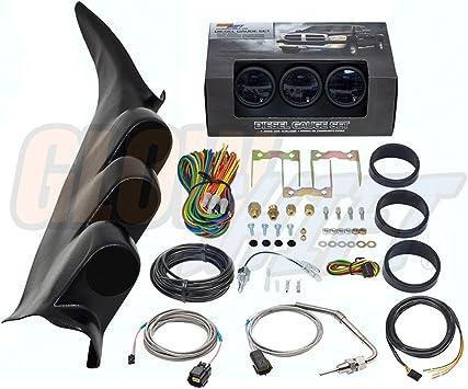 03-06 Chevy Duramax GSWhite 7C Gauge Set-Boost,TransTemp/&1500F EGT/&BlkPod w//Spkr