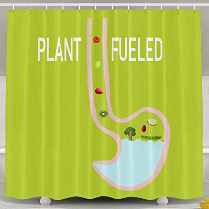 Amazon HITRYEFG Healthy Vegetarian Plant Fueled Shower Curtain