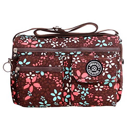 Body Women Shoulder Bag Bag Travel Bag Brown Flowers Handbag Purse Casual Cross Messenger Wocharm 0wCq66