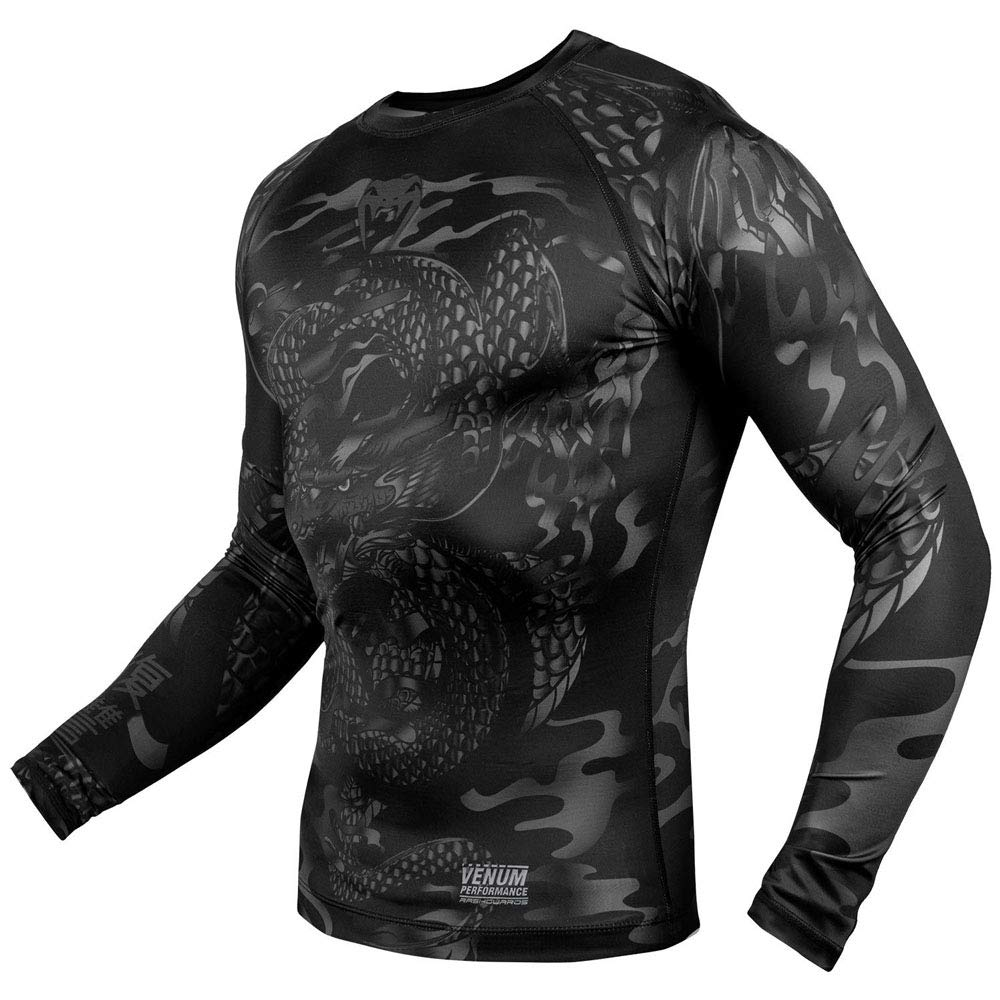 Venum Dragons Flight Rashguard Mens Long Sleeve Black MMA BJJ Fitness No-Gi