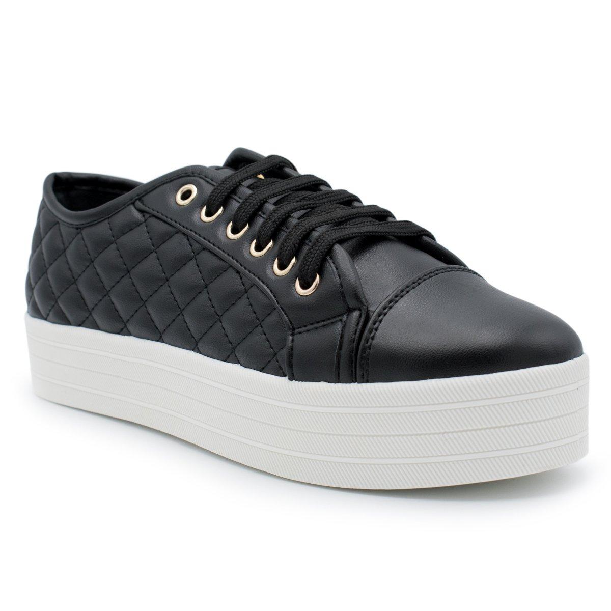 Breckelle's - Women's Soft Quilted Fashion Sneaker B071FQB2YM 7 B(M) US Black