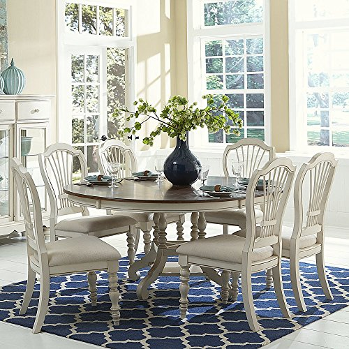 Hillsdale Furniture 5265DTBCW7 Pine Island 7PC Round Dining Set with Wheat Back Chairs
