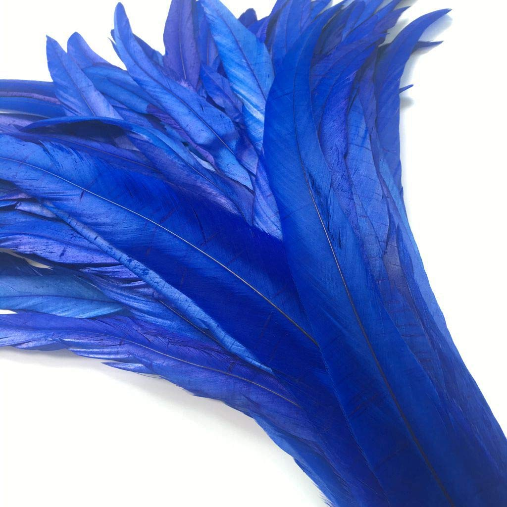Shekyeon 12-14inch Rooster Tail Feather Used Hats Costume Decoration Pack of 50 red