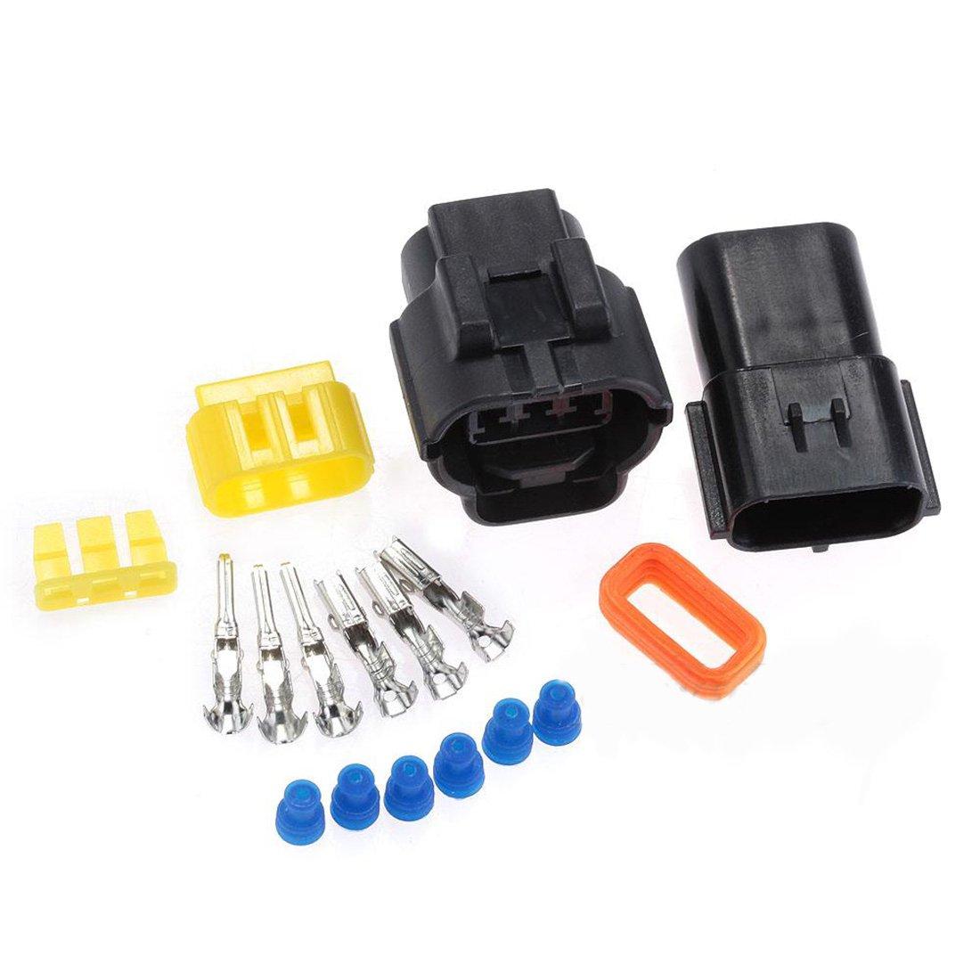 2 jeux de voiture 3 broches é tanche Fil connecteur de câ ble prise mâ le et femelle de Kits de durable Auto é lectrique Luwu-Store