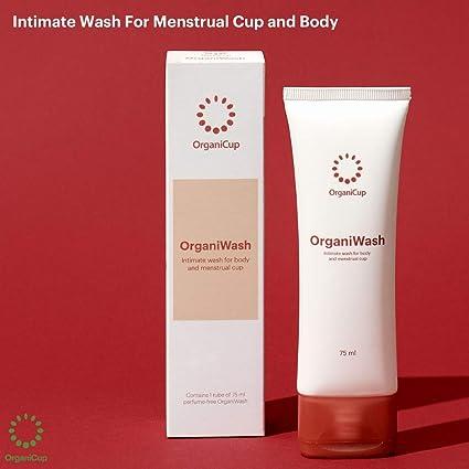 OrganiWash (75ml) - Limpiador suave para el cuerpo y la copa menstrual - Jabón íntimo orgánico - Sin perfume - Vegano certificado - Certificado para ...