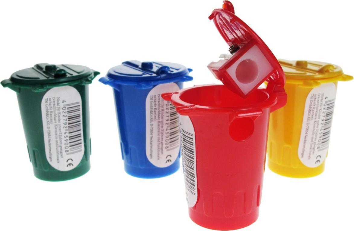 4 Bleistiftanspitzer 'Mü lleimer' / Farbe: je 1x grü n, blau, rot, gelb TSI