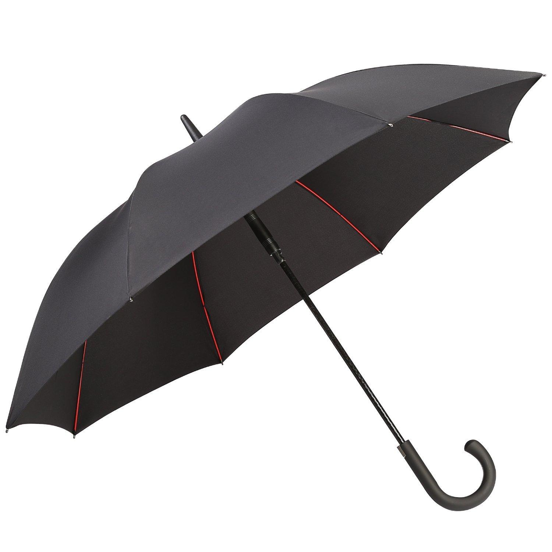 G4Free 52 Inch Automatic Open Large Umbrella Windproof Waterproof Stick Umbrellas for Men Women (Black-1)