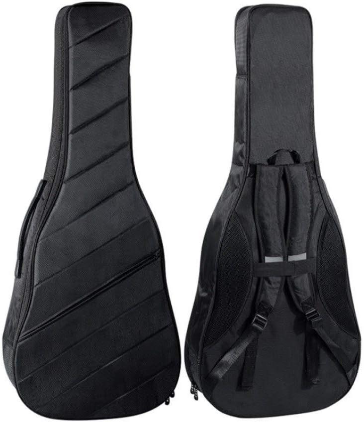 BYSH 41インチのアコースティックギターバッグとクラシックギターギグバッグ、10ミリメートルエクストラ太いスポンジパッド入り防水ギターケース、ソフトギターバックパックケース、デュアル調節可能なショルダーストラップ - ブラック