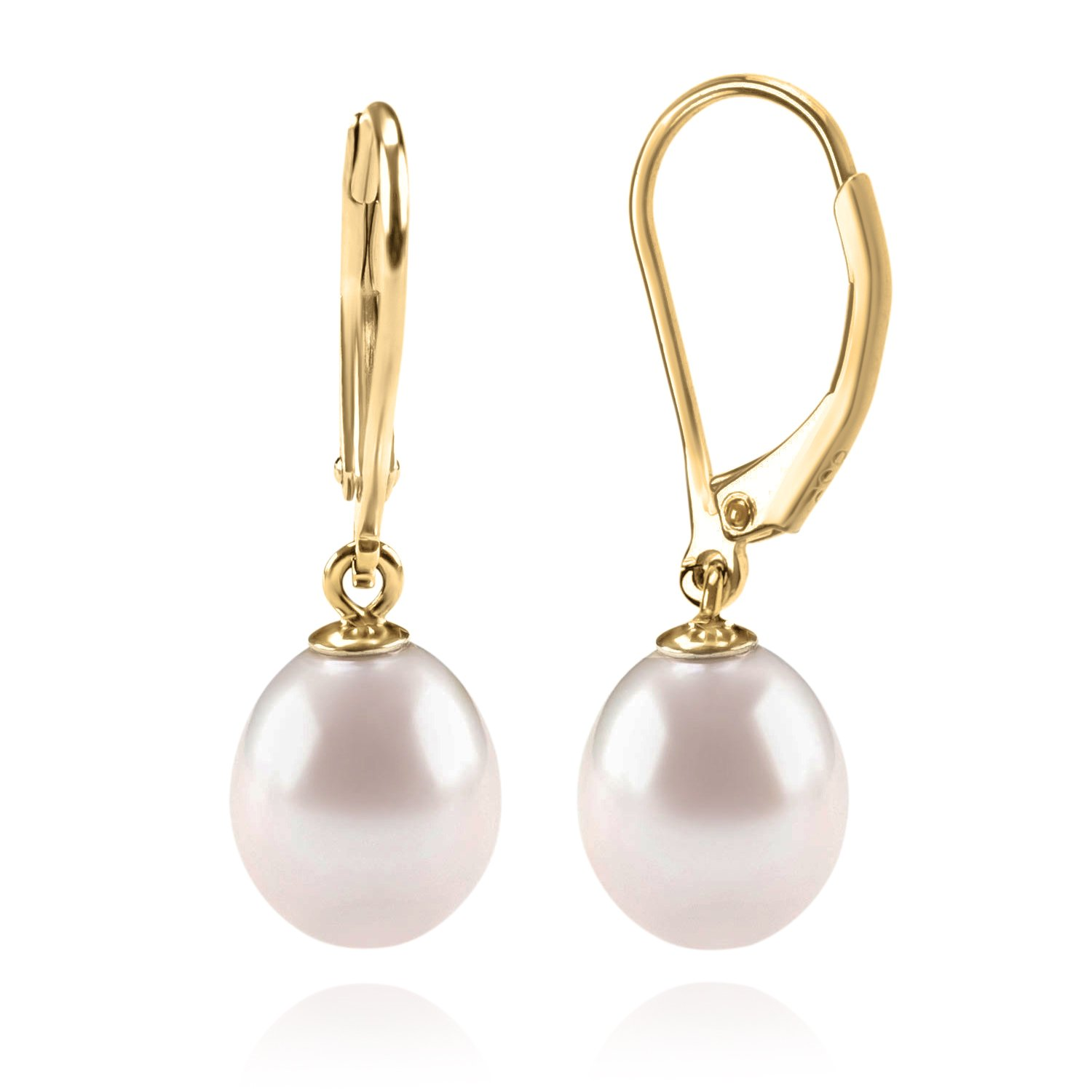 PAVOI 14K Yellow Gold Plated Freshwater Cultured Pearl Earrings Leverback Dangle Studs - Handpicked AAA 7mm