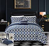 Chic Home 6 Piece Laila Reversible Ikat diamond and contemporary geometric pattern print technique Twin Bed In a Bag Duvet Set Navy