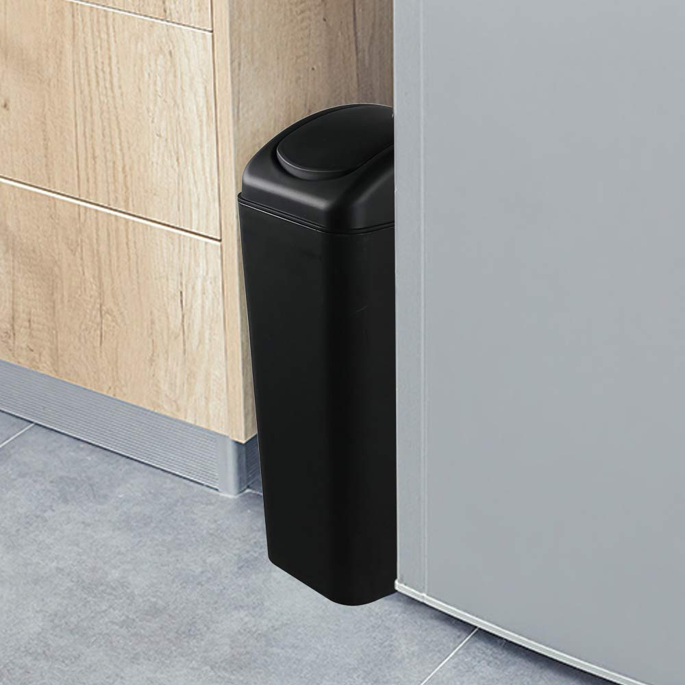 10L Capacity Jekiyo Plastic Trash Cans with Swing Lid Black Trash Bin