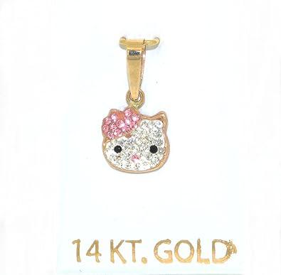Amazoncom 14K Yellow Gold Pink CZ Hello Kitty Charm Jewelry