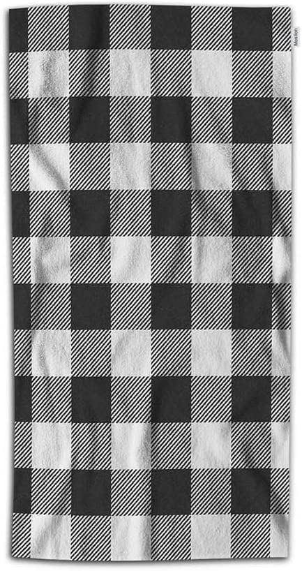 Amazon Com Moslion Plaid Hand Towel Vintage White Black Gingham Checkered Tartan Buffalo Check Towel Soft Microfiber Face Hand Towel Kitchen Bathroom For Kids Baby Men 15x30 Inch Home Kitchen