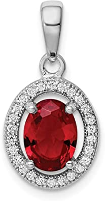 925 Sterling Silver Created Red Ruby Cubic Zirconia Cz 18 Inch Chain Necklace Pendant Charm Gemstone Fine Jewelry Gifts For Women For Her