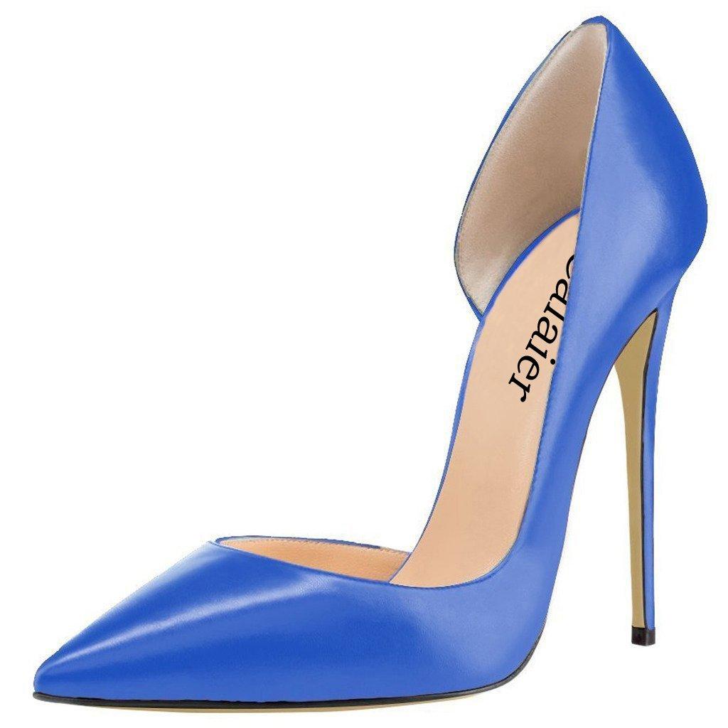 Calaier Mujer Cadislike Tacón De Aguja 12CM Cuero Ponerse Zapatos de tacón 44.5|Azul