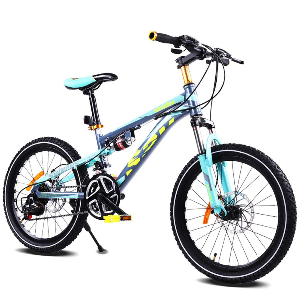 Unisex 21 Geschwindigkeit Mountainbike mit ZWeißFedern 20 Zoll Doppelscheibenbremse Student Kind Pendlerstadt Fahrrad,Grün SkyBlau