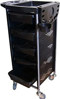 FIGARO rollbarer Beistellwagen Rack Boy mit Kunststoffwannen und Föhnhalter Farbe schwarz